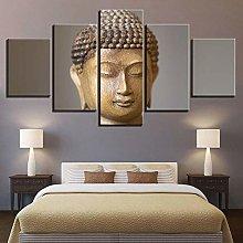 DUODUOQIAN Stone Buddha Statue 5 Panel Canvas Wall
