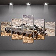 DUODUOQIAN Tank War 5 Panel Canvas Wall Art