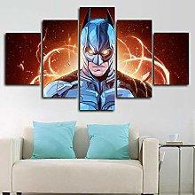 DUODUOQIAN Trapeze Hero Comics 5 Panel Canvas Wall