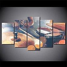 DUODUOQIAN Vintage Drums Instrument 5 Panel Canvas