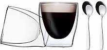 DUOS 2x 80 ml Double-Walled Glasses + 2x Stainless