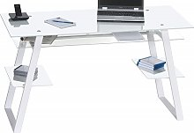 Duponta White Glass Computer Desk With White Metal