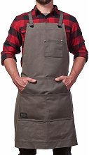 Durable Goods apron in robust waxy fabric gray