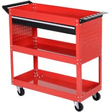 DURHAND 3-tier Tool Trolley Cart Roller Cabinet