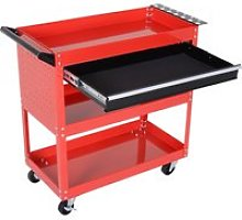 DURHAND 3-Tier Tool Trolley, Steel-Red