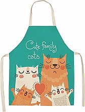 Dusenly Cartoon Animal Apron Cute Cat Pattern