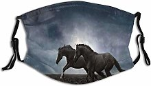 Dust Mouth Mask Animal Couple Horses Running Field