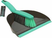 Dustpan and Bristle Brush Set, Grey - JVL
