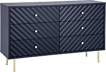 Dutch Glam 3 + 3 Drawer Chest - Blue