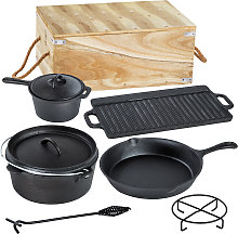 Dutch oven cookware set made of cast iron in wooden box - black