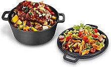 Dutch Pot, 2 in 1 Seasoned Double Dutch Oven Cast