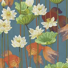DUTCH WALLCOVERINGS Wallpaper Fish/Flower Blue -