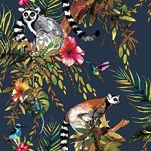 DUTCH WALLCOVERINGS Wallpaper Lemur Petrol Blue -
