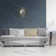 DUTCH WALLCOVERINGS Wallpaper Marble Blue and Gold
