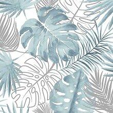 DUTCH WALLCOVERINGS Wallpaper Monstera Leaves Blue