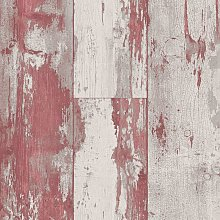 DUTCH WALLCOVERINGS Wallpaper Wood Red and Beige -