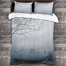 Duvet cover bedding Set,Raindrops Mystic Foggy