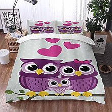 Duvet Cover Bedding Sets,Cute Owls Couple with