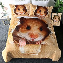 Duvet Cover Double Size Animal Hamster Yellow