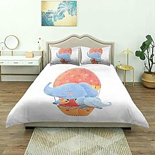 Duvet Cover,Mother and Baby Elephants Flying with