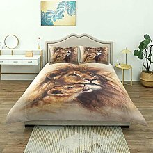 Duvet Cover,Painting of Loving Lion and Her Baby