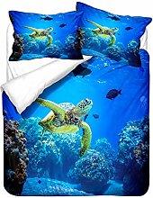 Duvet Cover Pillowcase 3D Ocean Animal Tortoise