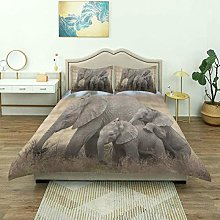 Duvet Cover,Safari Elephant Mom and Baby On