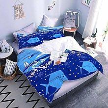 Duvet Cover Set 3D Blue Fish Printed Bedding Quilt