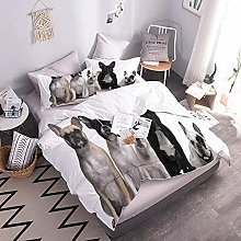 Duvet Cover Set 3D Dog Easy Care Quilt Cover And