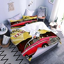 Duvet Cover Set 3D Red Car With Duvet Cover And
