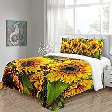 Duvet Cover Set 3D Sunflower Easy Care Quilt Cover