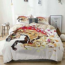 Duvet Cover Set Beige,Animal Abstract Art Wild