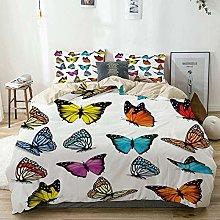 Duvet Cover Set Beige,Animal Butterflies