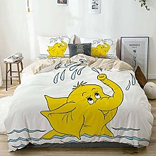 Duvet Cover Set Beige,Animal Cartoon Elephant