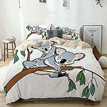 Duvet Cover Set Beige,Animal Koala Eucalyptus