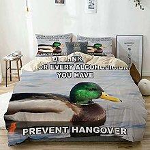 Duvet Cover Set Beige,Animal Mallard Duck with