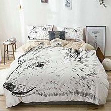 Duvet Cover Set Beige,Animal Polar Bear Face