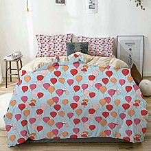 Duvet Cover Set Beige,Baby Bunny Girl and Balloons
