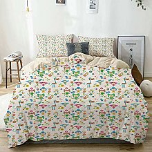 Duvet Cover Set Beige,Baby Funny Animal Figures