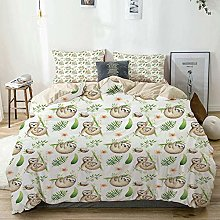 Duvet Cover Set Beige,Baby Sloth and Mother Soft