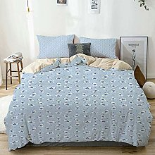Duvet Cover Set Beige,Baby Teddy Bears and Hearts
