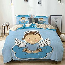 Duvet Cover Set Beige,Baby with Wings on Cloud Boy