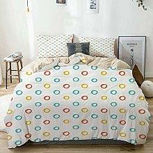 Duvet Cover Set Beige,Childish Color Hoops Circle
