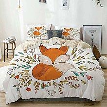 Duvet Cover Set Beige,Cute Baby Fox Sleeping in a