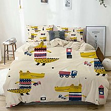 Duvet Cover Set Beige,Cute Dino Playing Truck