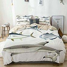 Duvet Cover Set Beige,Fish Collage of Aquatic