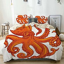 Duvet Cover Set Beige,Octopus Orange Animal