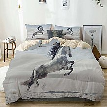 Duvet Cover Set Beige,Silver Pony Horse Galloping