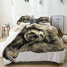Duvet Cover Set Beige,Sloth Tropical Animal