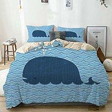 Duvet Cover Set Beige,Whale Sea Animal Wavy